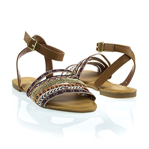 ... Flerfarget Stamme Flat Sandal W Ankel Stropp Tan ...