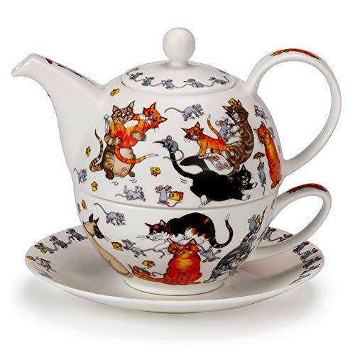 Dunoon Commical Pussy Galore' Cat Kitten Fine Bone China Tea One Teapot Cup Saucer Set by Dunoon (Image #1)