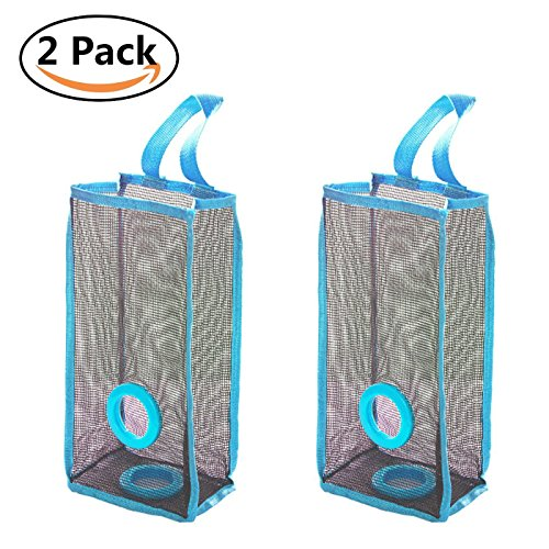 2Pcs Plastic Bag Holder,Hanging Storage Mesh Garbage Dispensers Folding Trash bags Holder Organizer Recycling Shopping Pocket Hanging Containers for Kitchen Bathroom Office