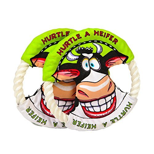 Lovely Baby Best Pet Training Frisbee with Rope Ring, Animal Pattern of Funny Heifer, Non-toxic Flying discs for your beloved dogs LY-Toys-GREEN-001