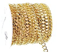 Superior quality 18k filled Cuban link curb chain for jewelry making                Qty: 2m (6.6ft)         Size: 4w x 5l x 1h         Material: Brass, gold         Links: Unsoldered         Packaging: Plastic spool                    ...