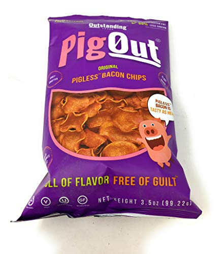 - Pigout, Pigless Bacon Chips Original, 3.5 Ounce