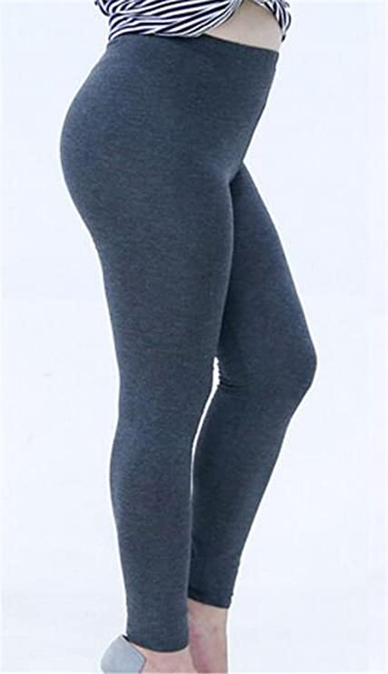 eec00a19ca8 Fulok Women s Plus Size Skinny Ankle Solid Leggings Pants Tights at Amazon  Women s Clothing store