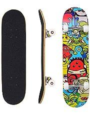 "Eseewin Skateboard 7 Layers Decks 31""x8"" Pro Compleet Skate Board Maple Wood Longboards voor tieners Volwassenen Beginners Meisjes Jongens Kids"