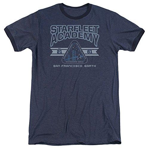 Star Trek Starfleet Academy Earth Mens Adult Heather Ringer Shirt Navy Lg (Nerdy Girl Costume Ideas)