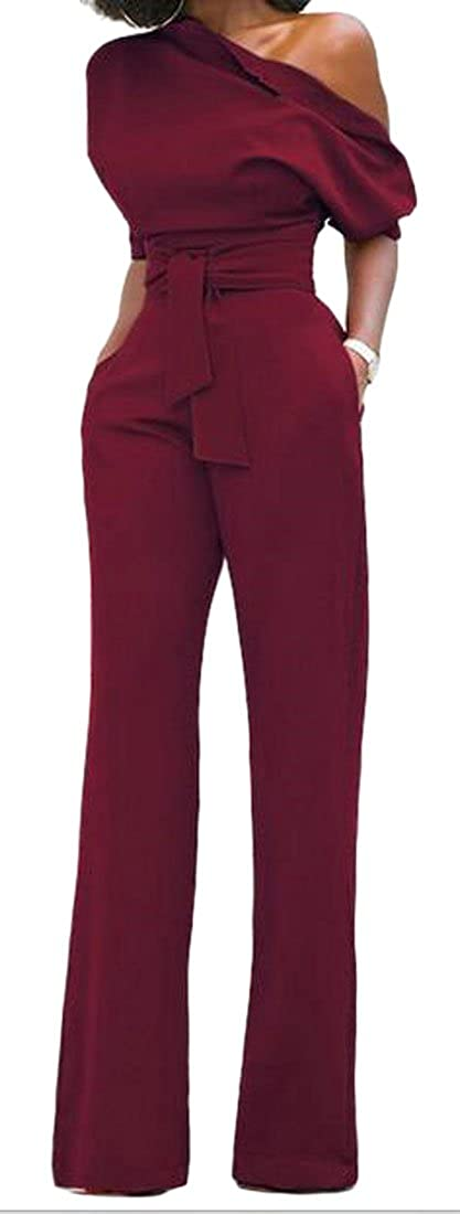 Wopop Women Casual One Shoulder Wide Leg Solid Color Belt Party Rompers Jumpsuits