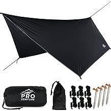 Proventure Large Hammock Rain Fly, Tent Tarp. Premium Waterproof Hammock Shelter. Lightweight Ripstop Nylon 210D. Fast Set Up. No Instructions Needed. A Hammock Camping Essential! 12x9ft HEX