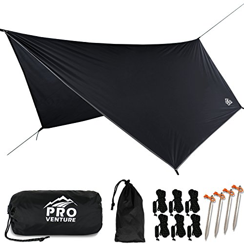 Pro Venture Waterproof Hammock RAIN Fly - Portable Large Rain Tarp - Premium Lightweight Ripstop Nylon - Fast Set Up - Hammock Camping Essential! 12FT x 9FT HEX Shape. ()