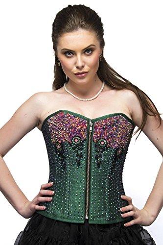発症犯す学んだGreen Silk Sequins Zip Goth Burlesque Waist Training Bustier Overbust Corset Top