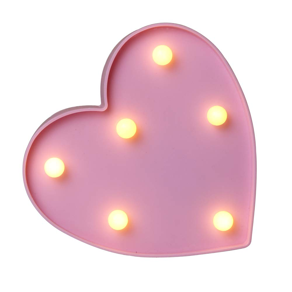 10ff970944e Marquee Light up Pink Heart Sign with 6 Warm White Bulbs (Pink)