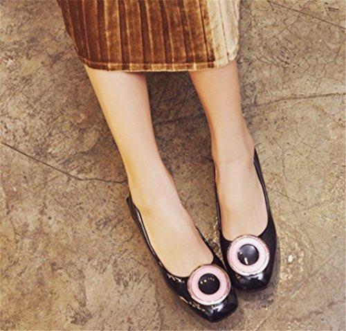 tacco alti a Clover rotonda nero Short Shoes Tacchi Sandals Lucky mamma Nonna Comodo Zia punta medio dTYgnPxY5