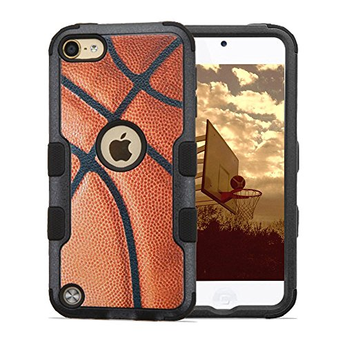 iPod Touch 5th and 6th Gen Case, JoJoGoldStar® Hybrid Slim Fit Heavy Duty Shockproof Plastic and Silicone TPU Tuff Hard Cover with Screen Protector and Stylus (Basketball)