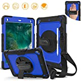 DUNNO iPad 9.7 2017 2018 case - Heavy Duty Protective Case with 360° Rotating Kickstand & Built-in Screen Protector Shockproof Design for Apple iPad 9.7 inch 2017 2018 (5th 6th Gen) Black Blue