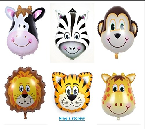 king's store 6 PCS huge animal head balloon, can float huge animal balloons, the children like it very much, six floating in the air, animal head is very -