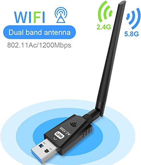 Wireless USB WiFi Adapter Techkey 1200Mbps Dual Band 2.4GHz//300Mbps