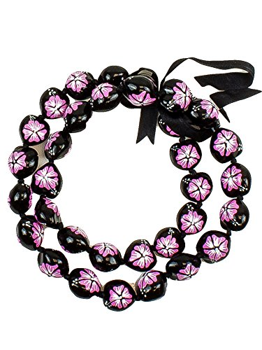 Barbra Collection Hawaiian Style Kukui Nut Lei Hibiscus Flower Hand Painted 32 Nuts (Pink Flower) ()