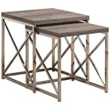 Monarch Specialties Reclaimed-Look/Chrome 2-Piece Nesting Tables, Large, Dark Taupe