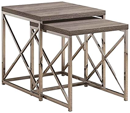 Monarch Specialties I 3255, Nesting Table, Chrome Metal, Dark Table, Table  Set