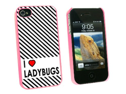 Graphics and More I Love Heart Ladybugs Snap-On Hard Protective Case for Apple iPhone 4/4S - Non-Retail Packaging - Pink