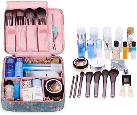 Travel Makeup Bag Large Cosmetic Bag Makeup Case Organizer for Women and Girls (Flamingo) 2