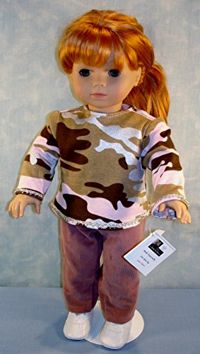 18 Inch Doll Clothes - Pink Camo Top and Mauve Corduroy Pants Set handmade by Jane Ellen to fit 18 inch dolls