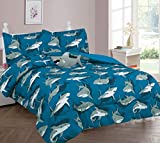 Goldenlinens Golden linens Twin Size 4 Pieces Comforter (1 Comforter,2 Pillow Sham & Furry Body Decorative Pillow) Printed Blue Gray Shark Design # Shark 4 Pcs