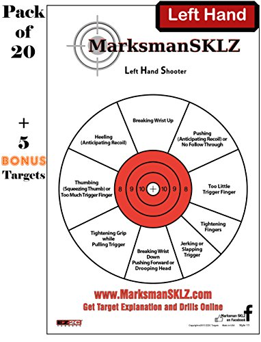 Diagnostic Shooting Targets (Pack of 20 + 5 bonus) | Instructions And Tips To Instantly Improve Shooting Skills, Techniques, Precision And Accuracy | Shooting Accessories For Men And Women