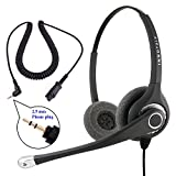 Plantronics Compatible QD cord Combo - InnoTalk Superb Sound Pro Binaural Headset + 2.5 mm headset jack