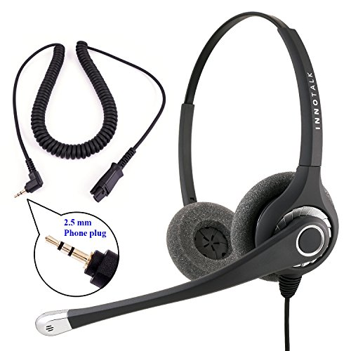 Plantronics Compatible QD cord Combo - InnoTalk Superb Sound Pro Binaural Headset + 2.5 mm headset (Gn Netcom Ear Cushion)