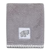 Little Love by NoJo Super Soft Double Sided Cuddle Plush Blanket with Pom Pom Trim, Elephant, Gray, White
