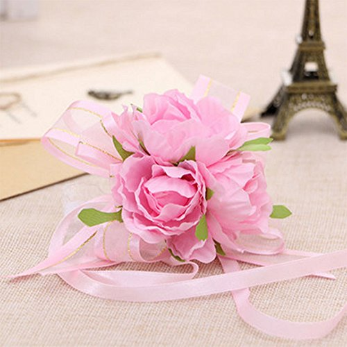 Pinks Purse Corsage (VIPASNAM-1pc Handcrafted Wrist Corsage Bracelet Artificial Silk Rose Flowers For Wedding(type:pink gb-CQ1370))