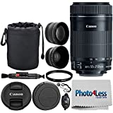"Canon EF-S 55-250mm F4-5.6 is STM Lens Canon SLR Cameras + 58mm 2X Professional Telephoto & High Definition 58mm Wide Angle Lens + UV Filter + 6"" Lens Pouch + Cleaning Pen – Full Accessory Bundle"