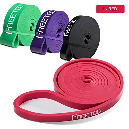 FREETOO Resistance Band for Assisted Pull-ups Natural Latex Fitness Workout Bands for Powerlifting and Exercise Color Red 15-35 Pounds