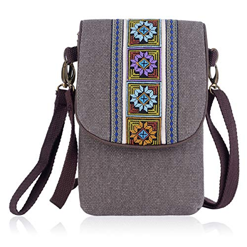 (Embroidery Canvas Flap Small Crossbody Purse Cell-Phone Bag for iPhone Women Mini Shoulder Bag Wristlet Wallet)