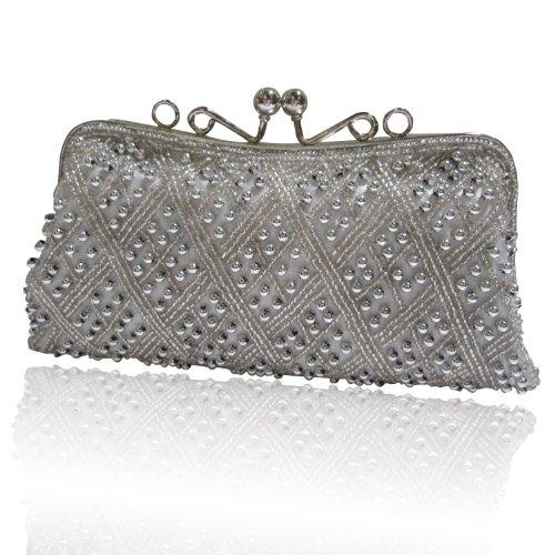 D211C silver Fully Handmade Beaded Evening Wedding Prom Party Handbag Purse Bag, Bags Central