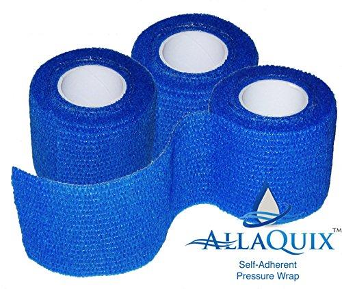 AllaQuix Self-Adherent Pressure Wrap - 3-Pack - Flexible Non-Stick Gauze Bandage - Latex-Free