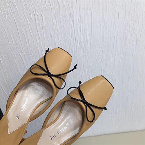 Yingsssq Pantofole Infradito da Donna Spessore Spessore Spessore con Mezza Resistenza Testa Quadrata Papillon Baotou (Coloreee   Marronee, Dimensione   7 US 37.5 EU 4.5 UK)   finitura  df88f6