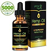 Prime Hemp Oil for Pain Anxiety Relief - (5000mg | 30ml) Full Spectrum All-Natural Organic Blend, Supports Calming and Relaxation Anti Inflammatory, Joint, Sleep Rich in Omega 3 & 6 Fatty Acids!