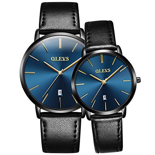 - OLEVS His and Hers Couple Watches Fashion Minimalist Ultra Thin Quartz Analog Wrist Watches and Luxury Leather Watches Calendar Day Waterproof Watch Gifts Set for Lovers Set of 2