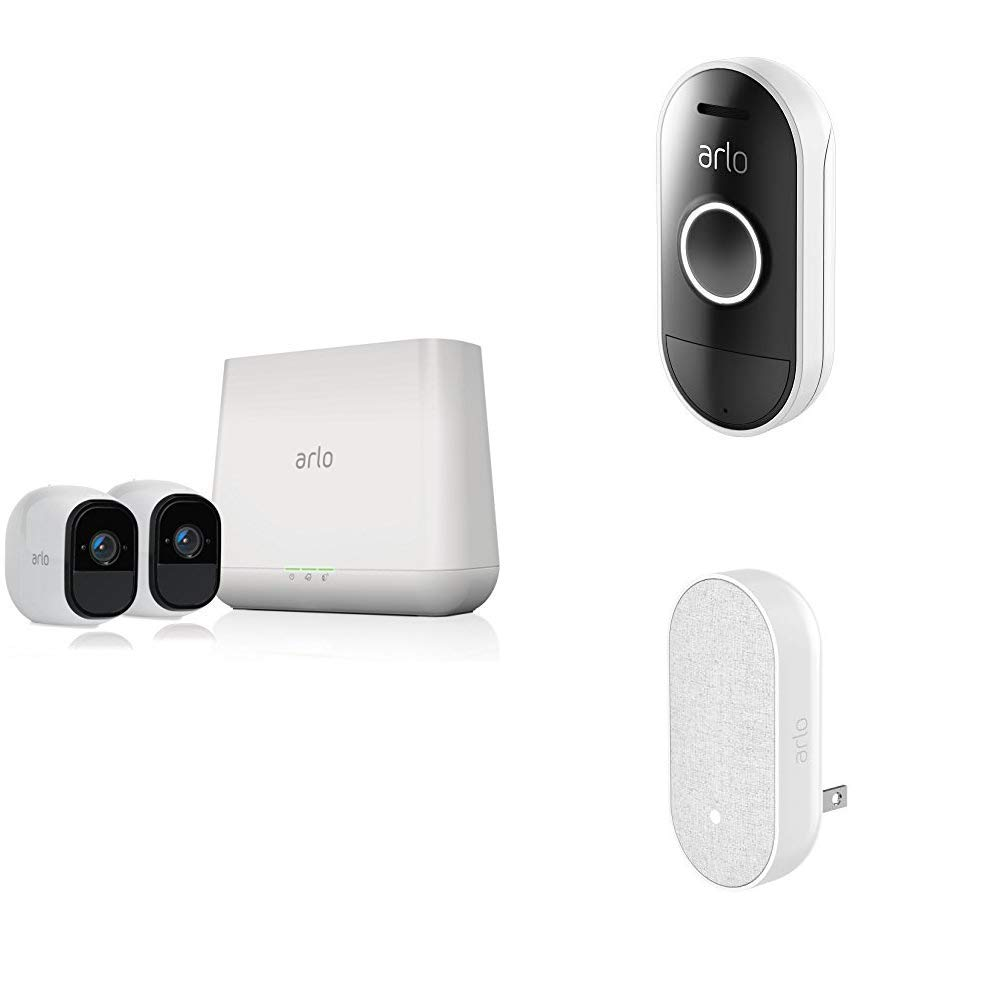 Arlo Pro - Wireless Home Security Camera System with Siren   Rechargeable, Night vision, Indoor/Outdoor, HD Video, 2-Way Audio, Wall Mount   Cloud Storage   2 camera kit (VMS4230) w/ Doorbell