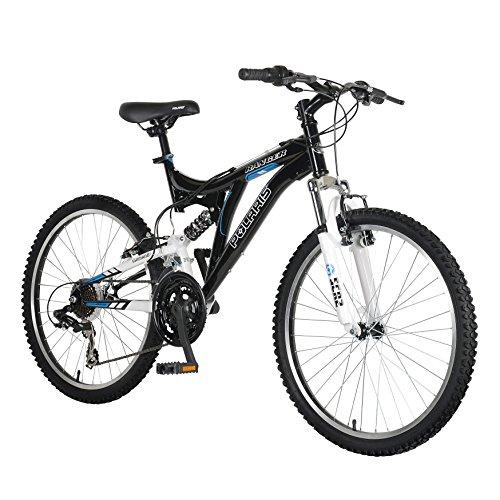 Polaris Ranger Full Suspension Mountain Bike, 24 inch Wheels, 17 inch Frame, Boy's Bike, Black