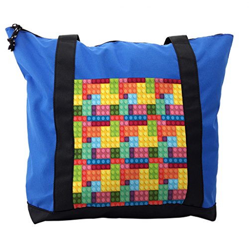 Lunarable Colorful Shoulder Bag, Kids Building Toy Blocks, Durable with Zipper by Lunarable