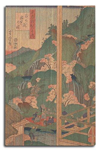A Pleasure Trip to The Waterfall of Flower - Masterpiece Classic - Artist: Utagawa Yoshitora c. 1869 (10x15 Wood Wall Sign, Wall Decor Ready to Hang) ()