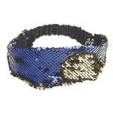 BCDshop Women Sequins Headbands Stretch Running Yoga Gym Head Wrap Hair Band Wide Fashion Accessories, (Blue)