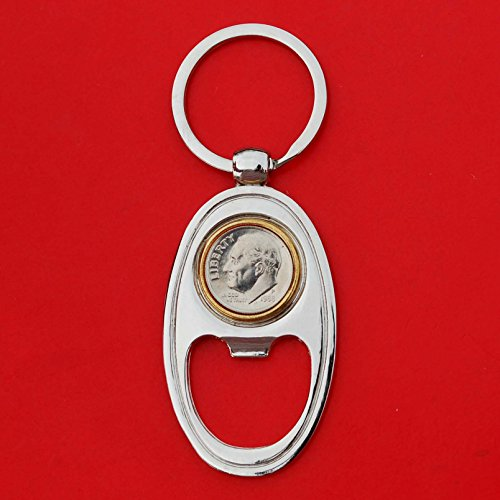 (US 1988 Roosevelt Dime 10 Cent Gem BU Uncirculated Coin Gold Silver Two Tone Key Chain Ring Bottle Opener NEW)