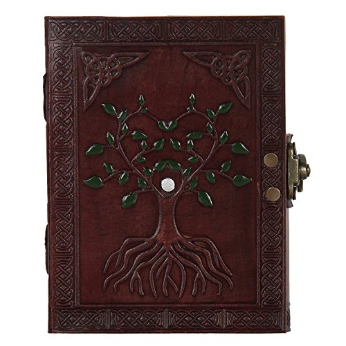 Hand Painted Tree of Life Leather Journal Diary Notebook Men Women Gifts Small