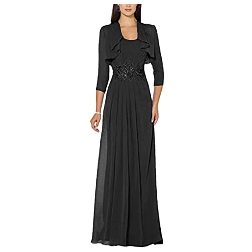 Macria Women's waist Two Sets Long Mother of the Bride Dresses with Jacket Formal Prom evening dresses