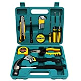Shiratori 16-Piece Tool Set - General Household Hand Tool Kit with Plastic Toolbox Storage Case