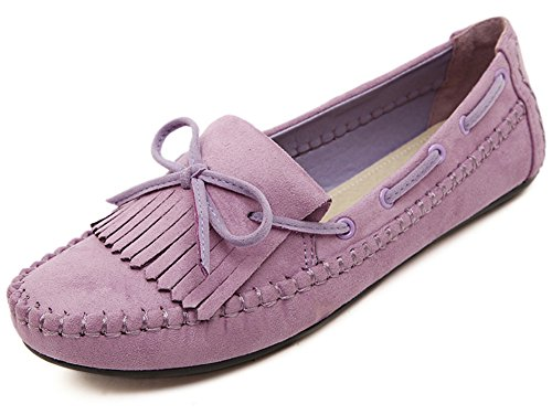Women's Round Toe Flat Shoes Korean Casual Loafers Purple - 2
