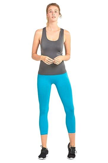 539719c74ef55 MOPAS Women's Ribbed Waistband Capri Length Plain Leggings - Aqua at ...